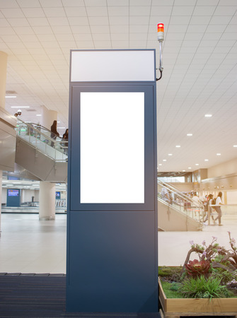 Blank billboard advertising panel in terminal airport, Mock up white, insert for text of customer. Space for texting in products or promotional at airport,train station,advertising public commercial.