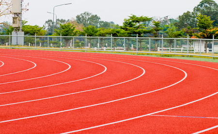 track running, red treadmill for athletics and competition.