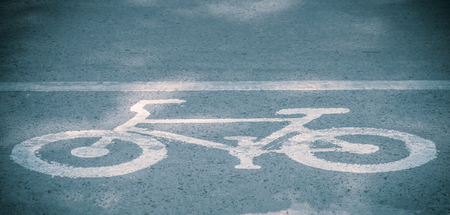 bike lanes, Bicycle road sign on the road Stockfoto