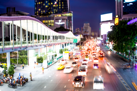 blurred of traffic jam in rush hour of many cars in Bangkok city, Thailand Redactioneel