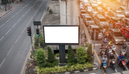 Blank billboard ready for new advertisement traffice jam in Bangkok, Thailand Imagens