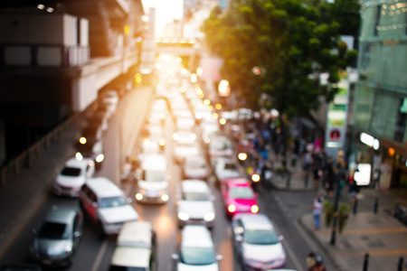 blurred of traffic jam in rush hour of many cars in Bangkok city, Thailand Stok Fotoğraf