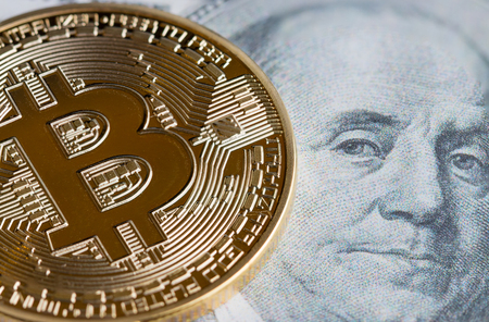 Bitcoin,Cryptocurrency is modern of Exchange Digital payment money,Gold Bitcoins electronic circuit with symbol on FRANKLIN US USD. Cryptocurrency can uses designed as exchange on internet web markets