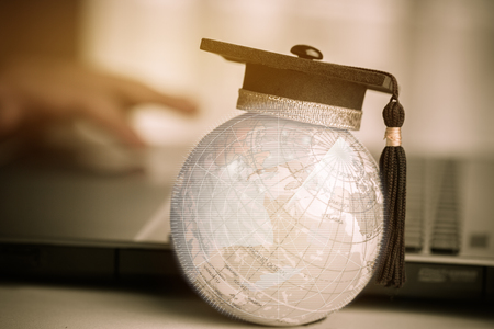 Education in Global, Graduation cap on top Earth globe model Asia map with Radar background. Concept of abroad international Educational, Back to School and Studies lead to success in world wide.