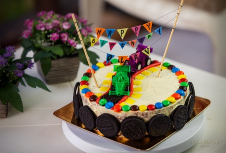 Delicious Vanilla Cake For Children Birthday Party Decorated