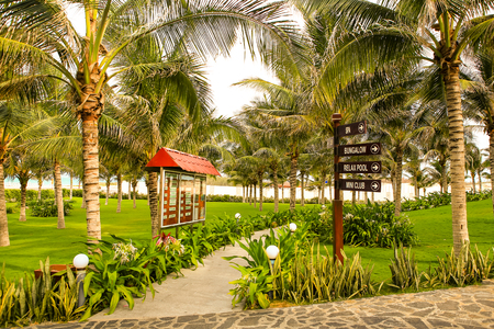 adds: tropical palms park near beach with green grass stony paths and adds board and pole with direction signs Stock Photo