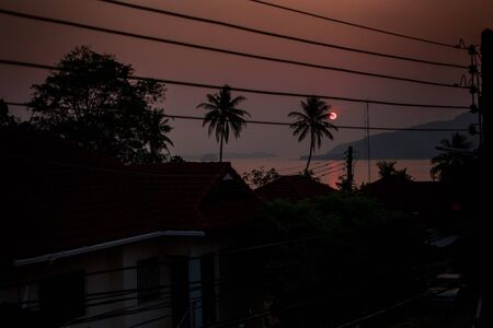 hilly: silhouettes of houses and high voltage electrical wires against sunrise from behind palms sea and hilly island