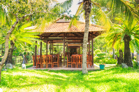 wooden pavilion with chairs on grass lawn among palms in tropical park in Vietnam