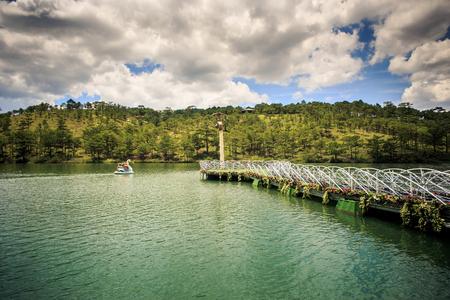 beautiful lacy bridge and lake