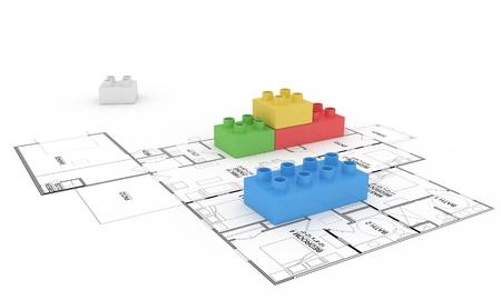 Illustratie van lego blokken op plattegrond
