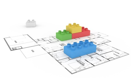 Illustration of lego blocks on floor plan illustration