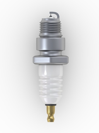 magneto: Shiny 3D Automobile Spark Plug on a white background