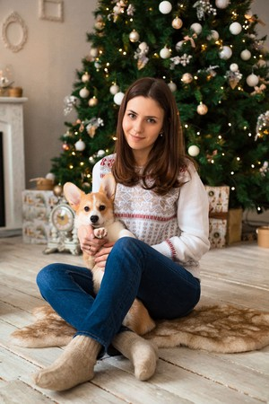 girl playing with funny puppy Welsh Corgi Cardigan on the background of Christmas tree and fireplace