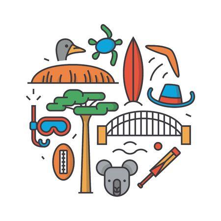 siervo: Australia, vector outline illustration, pattern, white background: boomerang, hat, serf, bridge, cricket, koala, tree Baobab, sport, mountain Uluru, ostrich, turtle