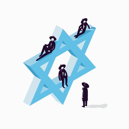 Israel, Star of David, vector isometric concept illustration, 3d icon, white background