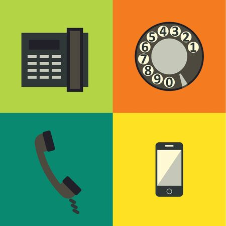 receiver: illustration icon set of phone