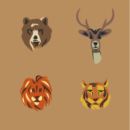 illustration icon set of wild animals: bear, deer, lion, tiger