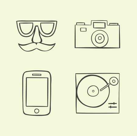 Vector illustration icon set of hipster: face, camera, phone, turntable