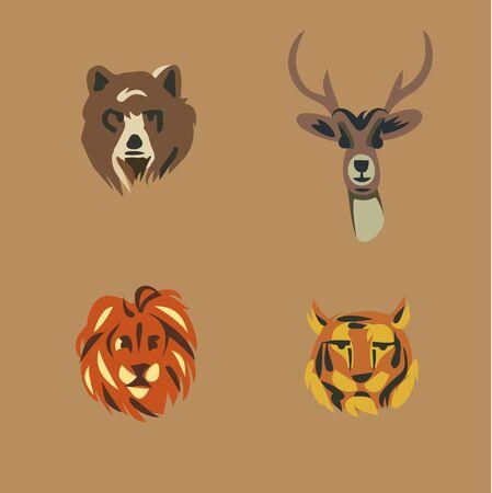 Vector illustration icon set of wild animals: bear, deer, lion, tiger Illustration