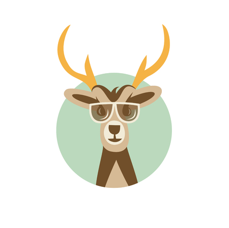 Vector Illustration of Deer Hipster with Sunglasses.