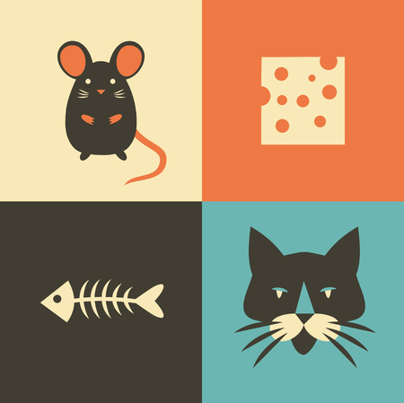 Vector illustration icon set of cat, mouse, cheese and fish. Vector Illustration