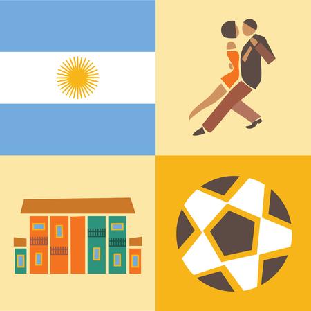Vector flat illustration, icon set of Argentina, flag, dance, house soccer ball