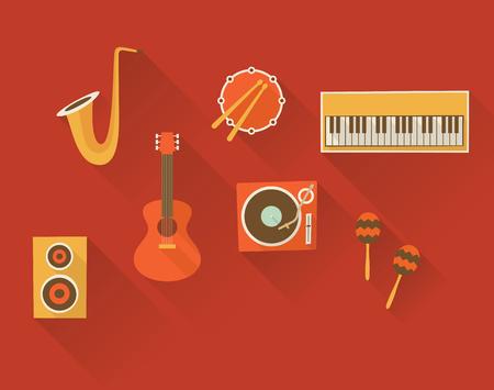 Vector flat illustration, icon set of music: trumpet, drum, piano, guitar turntable maracas speaker