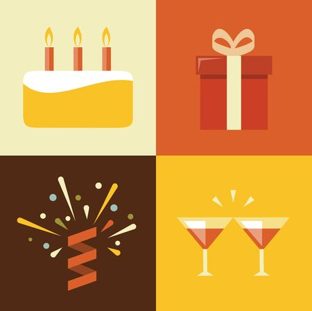 christmas cake: Vector flat illustration, icon set of birthday: cake, gift, confetti cocktail
