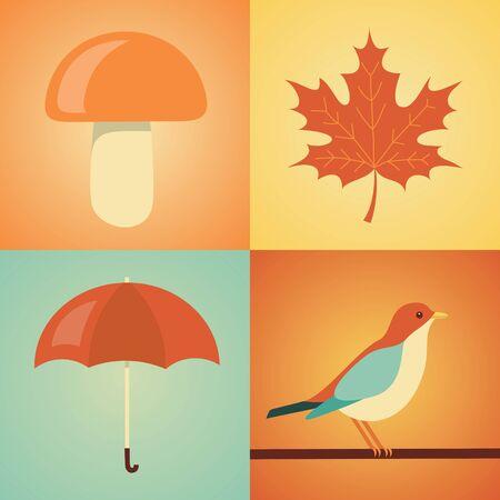 Vector flat illustration, icon set of autumn: mushroom, leaf, umbrella bird Illustration