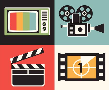 Vector Flat illustration, icon set of television: TV, camera, clapper movie