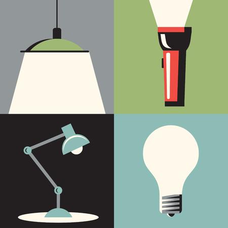 condo: Vector flat illustration, icon set of light: chandelier, flashlight, table lamp bulb