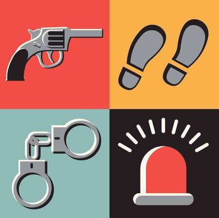 A Vector flat illustration, icon set of crime: gun, tracks, handcuffs signal