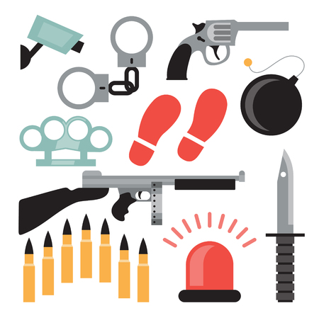 Vector flat illustration, icon set of crime: handcuffs, camera, pistol, brass knuckles, bomb, automatic knife bullet siren