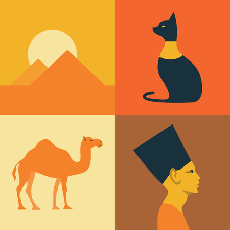 Vector Egypt background, icon set Ilustrace