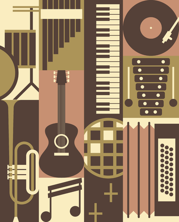 Vector music background, icon set