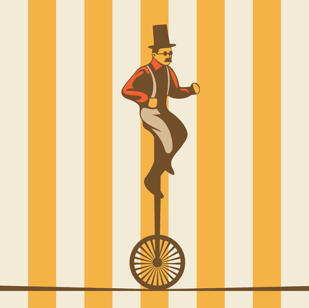 Vector circus illustration, man on rope, yellow background