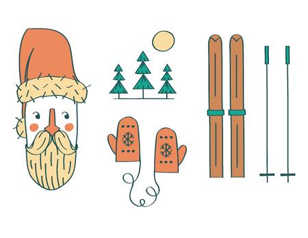 Vector illustration icon set of Christmas: Santa Claus, nature, mittens, skis Illustration