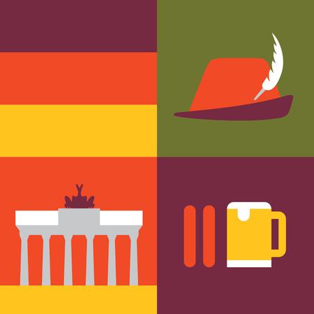 Vector illustration icon set of Germany: flag, hat, monument, sausage beer Illustration