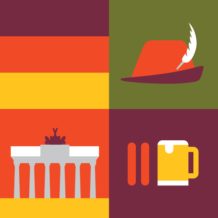 Vector illustration icon set of Germany: flag, hat, monument, sausage beer 免版税图像 - 126734510