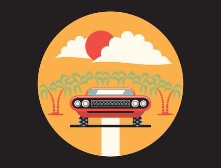 Vector flat illustration, icon of red car
