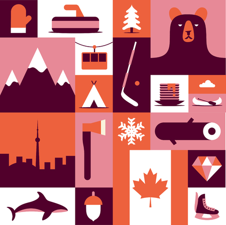 Canada, vector flat illustration, icon set, background. Mittens, landscape, ax, mountain, camping, fish winter wood forest bear tree hockey diamond flag skates food Ilustração