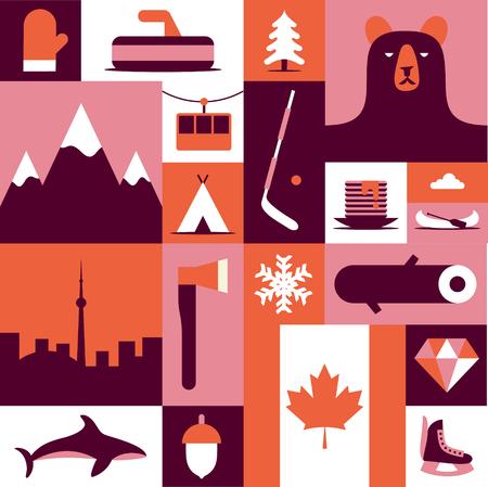 Canada, vector flat illustration, icon set, background. Mittens, landscape, ax, mountain, camping, fish winter wood forest bear tree hockey diamond flag skates food Illustration