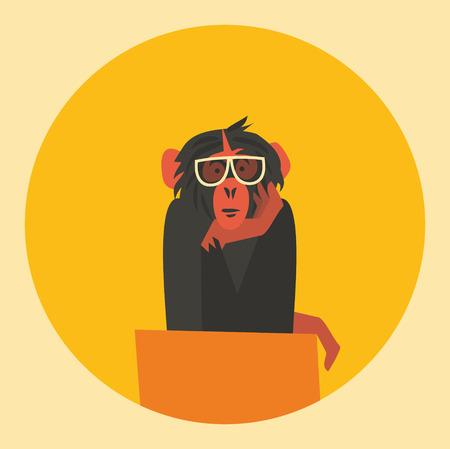 Vector nature illustration, flat icon of monkey.