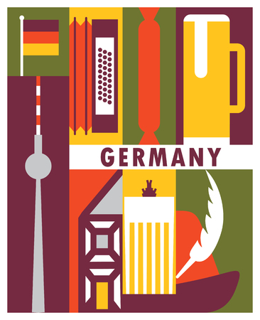 Vector Germany background, icon set Illustration
