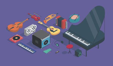 Musica, illustrazione isometrica vettoriale, set di icone: basso, giradischi, sintetizzatore, registratore a bobina, amplificatore, xilofono, chitarra, tromba, fisarmonica, batteria, violino, cuffie, armonica, pianoforte