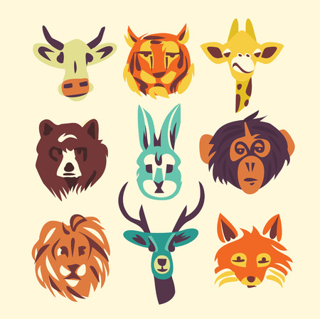 Wild animals, vector illustration, icon set, white background. Bear, rabbit, giraffe, fox, deer, monkey, lion, cow, tiger Çizim