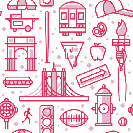 New York, vector outline background, seamless pattern: traffic light, Brooklyn Bridge, clock, hot dog, arc, shop, baseball, apple, pizza, train, arrow, rugby, hydrant