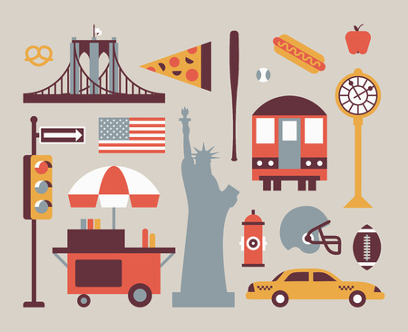 New York city, vector flat illustration, icon set: traffic light, flag, shop, bridge, pizza, statue of liberty, baseball, hot dog, train, apple, clock, rugby, car Vettoriali