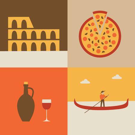 Vector flat illustration, icon set of Italy: flag, Coliseum, pizza gondolier Иллюстрация