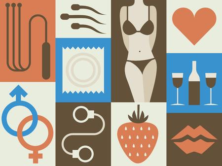 Vector illustration icon set of erotic